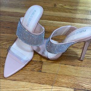 Public desire clear crystal heels in nude size 5